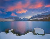 wallowa lake winter sunset